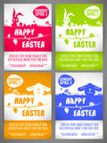 Happy easter Flyer templates Set with the big-eared rabbits and chicken silhouettes on the meadow Royalty Free Stock Photo