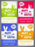 Happy easter Flyer templates Set with the big-eared rabbits silhouettes on the meadow Royalty Free Stock Photo
