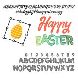 Happy Easter - font. Vector alphabet.Hand Lettering script font. Typography alphabet for Designs: Logos, Packaging. Happy Easter, can be used for your design vector illustration