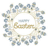 Happy Easter. Frame with flowers and paschal eggs Stock Photos