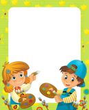 The happy easter frame - illustration for the children Stock Photo
