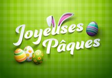 Happy Easter in French : Joyeuses Pâques Royalty Free Stock Photos