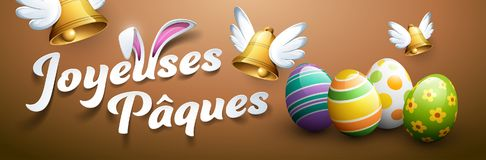 Happy Easter in French : Joyeuses Pâques. Happy Easter in French : Joyeuses Pâques. Vector illustration Royalty Free Stock Photography