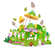 Happy easter funny animals stay together in the mushroom.  Royalty Free Stock Photos