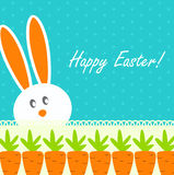 Happy Easter Funny Background with Rabbit and Carrot Vector Stock Image