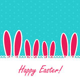 Happy Easter Funny Background with Rabbit Vector Illustration Stock Image