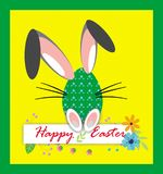 Happy easter, funny eggs clipart card on the yellow background royalty free illustration