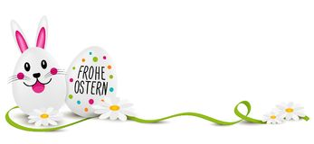 Happy Easter German with Eggs and Flowers. Eps10 Vector for Eastern holiday Royalty Free Stock Photo
