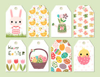Happy Easter gift tags or cards. Vector set of Happy Easter and spring cute gift tags or cards with drawings of bunny, chickens and other design elements Stock Photography