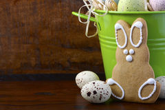 Happy Easter gingerbread cookie bunnies Stock Images