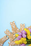 Happy Easter Gingerbread Cookie Bunnies Stock Photo