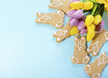 Happy Easter Gingerbread Cookie Bunnies Royalty Free Stock Photography