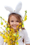Happy easter girl with bunny ears Royalty Free Stock Photography