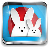 Happy Easter Glossy Application Button Stock Images
