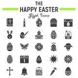 Happy Easter glyph icon set, holiday symbols. Collection, vector sketches, logo illustrations, celebration signs solid pictograms package isolated on white vector illustration