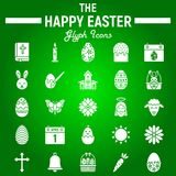 Happy Easter glyph icon set, holiday symbols. Collection, vector sketches, logo illustrations, celebration signs solid pictograms package isolated on green stock illustration