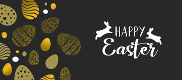 Happy Easter gold banner with eggs and rabbits. Happy Easter gold card illustration with rabbits and luxury eggs made of golden glitter. Horizontal format design Royalty Free Stock Photography