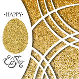 Happy Easter Gold Egg on the Gold Glitter background. Royalty Free Stock Photography