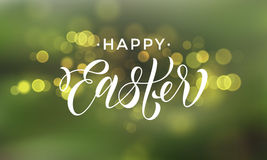 Happy Easter gold glitter vector premium paschal greeting card. Happy Easter vector greeting card on sparkling background with gold blur bokeh light Stock Images