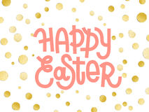 Happy Easter. Gold leaf boho chic style greeting card with shiny Stock Photography