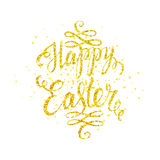 Happy easter gold lettering. With golden spray, Happy easter card, Happy Easter text for greeting card, poster, banner, printing, mailing, flyer, web, vector Stock Photos