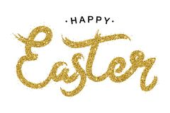 Happy Easter gold paint lettering. Golden text with sparkles. Hand drawn calligraphy for the happy Easter day. Vector royalty free illustration