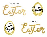Happy Easter gold paint lettering set. Golden text with sparkles. Hand drawn calligraphy for happy Easter day. Vector stock illustration