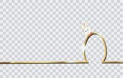 Happy Easter Gold Skyline Rabbit and Egg, flat design, golden outline drawing Easter Bunny greeting card,.  vector illustration