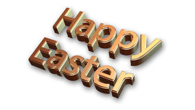 Happy Easter in gold  on white background Royalty Free Stock Image