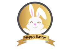 Happy easter golden badge Royalty Free Stock Images