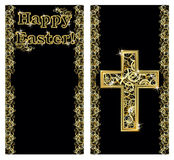 Happy Easter golden banners with cross, vector Royalty Free Stock Images