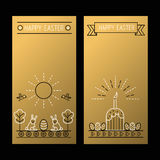 Happy Easter golden banners with a linear drawing Royalty Free Stock Photos