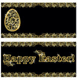 Happy Easter golden banners, vector Royalty Free Stock Images