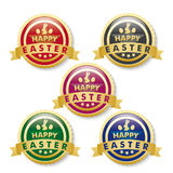 Happy Easter 5 Golden Buttons Royalty Free Stock Photos
