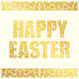 HAPPY EASTER. Golden decorative Font made of swirls and floral elements on a white background with eggs. Floral border. HAPPY EASTER. Golden decorative Font Stock Image