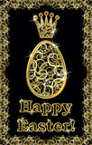 Happy Easter golden egg invitation, vector Royalty Free Stock Images