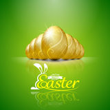 Happy easter with golden eggs.Hand lettering.vector illustration Royalty Free Stock Photos