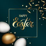 Happy easter in golden frame. Close up of gold and white easter eggs on dark background with golden serpentine and confetti