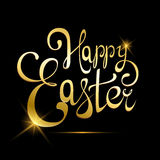 Happy Easter golden lettering. Greeting card or poster for holiday, letters made of gold. Abstract shining handmade calligraphy on black background. Vector Stock Photo