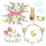 Happy easter graphic elements,vector set. Hand drawn stock illustration
