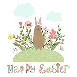 Happy easter graphic poster with bunny. And flowers Stock Photos