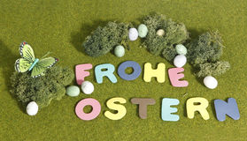 Happy Easter. Grass happy easter as text on green, decorated with moss and easter eggs Royalty Free Stock Photography