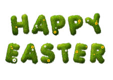 Happy easter grass text. With flowers stock illustration