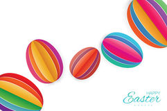 Happy Easter Greating card. 7 Colorful Paper cut Easter Egg. White background. Stock Image