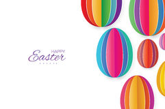 Happy Easter Greating card. Colorful Paper cut Easter Egg. White background. Royalty Free Stock Image