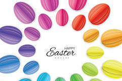 Happy Easter Greating card. Colorful Paper cut Easter Egg. White background. Stock Photography