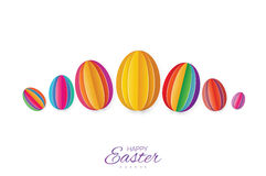 Happy Easter Greating card. Colorful Paper cut Easter Egg. White background. Royalty Free Stock Photos