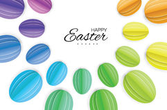 Happy Easter Greating card. Colorful Paper cut Easter Egg. White background. Stock Image