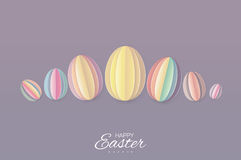 Happy Easter Greating card. 7 Pastel Paper cut Easter Egg. Purple background. Royalty Free Stock Photography