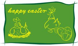 Happy easter - green background Stock Image